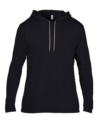 Anvil Anvil adult fashion basic long sleeve hooded tee Black/ Dark Grey S