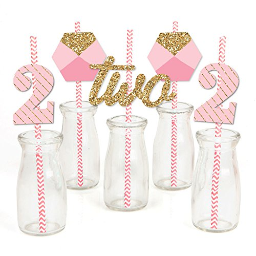 Two Much Fun Paper Straw Decor - Girl - 2nd Birthday Party Striped Decorative Straws - Set of 24