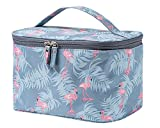JooNeng Large Makeup Bags,Travel Waterproof Cosmetic Bag Temperament Organiser Storage Pouch For Women (Blue Flamingo)