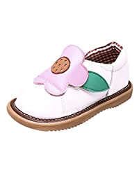 Tortor 1Bacha Baby Girls' Cartoon Flower Leather Slip On Squeaky Crib Shoes