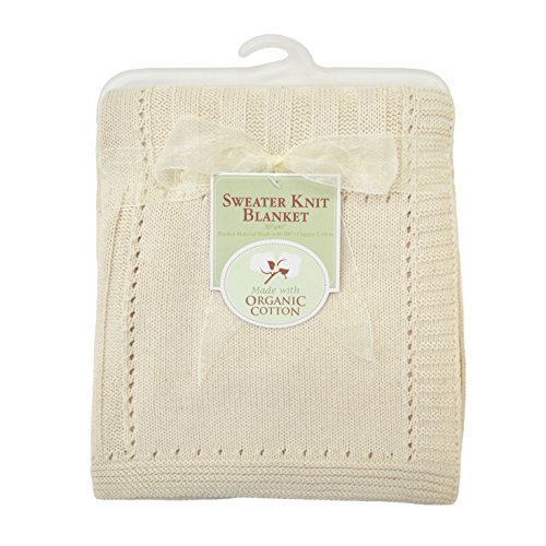 American Baby Company Sweater Knit Swaddle Blanket made with Organic Cotton Natural Color