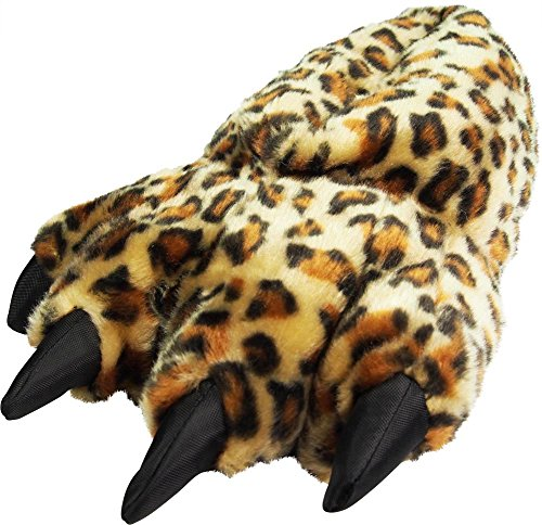 NORTY - Girls Big Foot Leopard Paw Animal Slippers, Brown, Tan 39433-Small