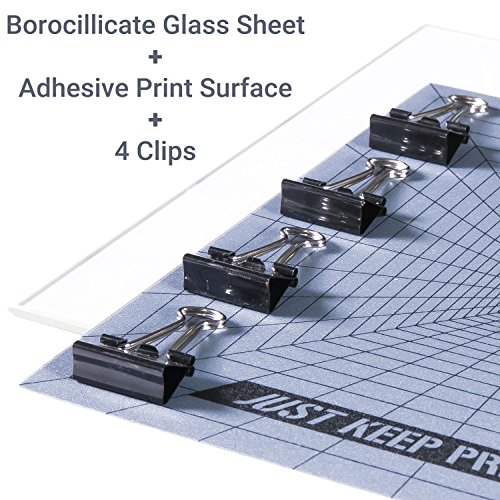 3D Printing Surface Bundle - Borosilicate Glass and Adhesive Printing Surface with 4 Clips - Starter Kit for 3D - Test New Glasses 3d