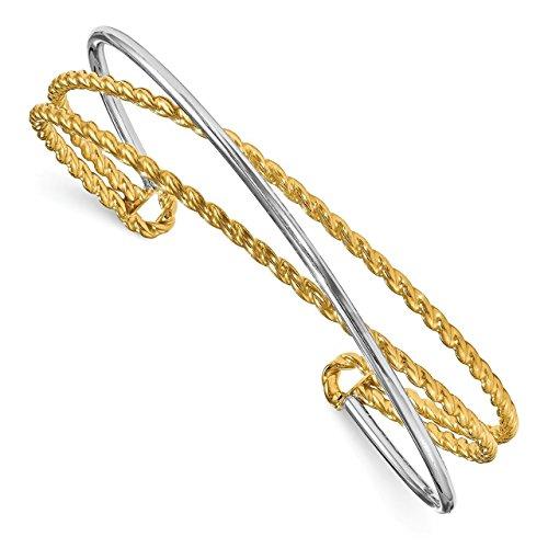14k 2 Tone Gold Cufflinks - Lex & Lu Leslie's 14k Two-tone Gold Polished Textured Cuff Bangle-Prime