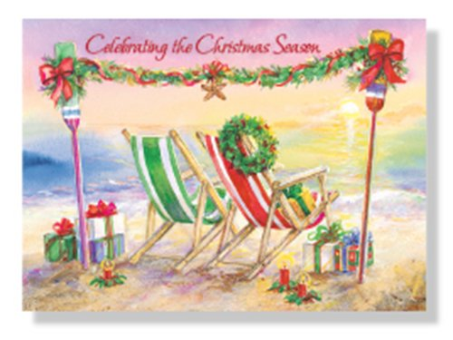 Designer Greetings Red Farm Studio - Boxed Christmas Cards Nautical/Coastal Design; Festive Christmas Beach Chairs