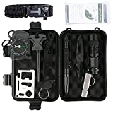 Marocon Survival Kit, 12 in 1 Emergency Survival Kit for Camping,Hiking,Biking,Climbing,Car includes Flashlight, Compass, Steel Knife, Whistle, Tactical Pen, Paracord Bracelet, Emergency Blanket
