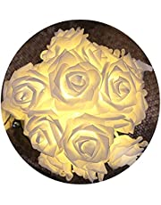 Cordão Luminoso Com 20 Lâmpadas De Led E Flores Cor Branca Quente