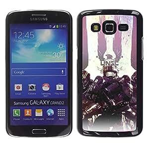 Samsung Galaxy Grand 2 - Metal de aluminio y de plástico duro Caja del teléfono - Negro - Unsc - Master Ch1Ef Warrior Hal0