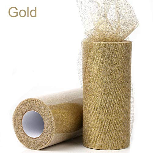 (Mary Steele Gold Wedding Table Runner 25 Yards Glitter Shimmering Tulle Rolls Birthday Party Decorative Table Runner Roll Home Decor Gold)