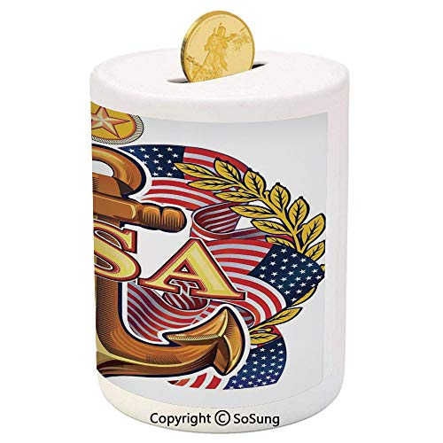 SoSung Anchor Ceramic Piggy Bank,Royal USA Anchor with American Flag Leaves and Star Force War Honor Medal Print 3D Printed Ceramic Coin Bank Money Box for Kids & Adults,Multicolor