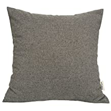 "TangDepot® Solid Wool-like Throw Pillow Cover/Euro Sham/Cushion Sham, Super Luxury Soft Pillow Cases - Handmade - Many Colors & Sizes Avaliable - (12""x12"", Charcoal Grey)"
