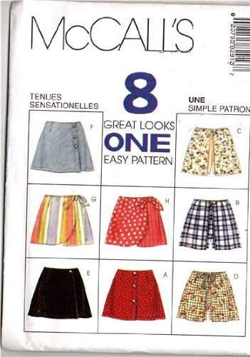 McCall's Sewing Pattern 8291 Girls' Skorts - 8 Styles, Size CD (2 3 4)