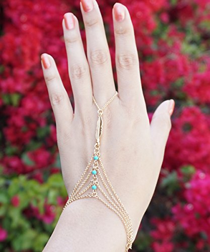 (Gold Feather Hand Chain, Turquoise Bead Slave Bracelet, Gold Hand Chain Bracelet, Gold Slave Ring, Ring Bracelet, Hand Piece)