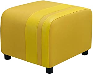 QQXX ZHANGQIANG Faux Leather Ottoman, Padded Foot Stool, Cube Bench Seater for Living Room, Bedroom & Office, 150Kg (Color : Yellow, Size : 50 45 40cm)