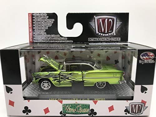 M2 Machines Wild-Cards 1955 Chevrolet Bel Air 1:64 Scale WMTS03 15-67 Neon Green/Black Flame Details Like NO Other! Over 42 Parts ()