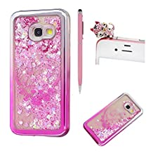 For Samsung Galaxy A5 2017 Liquid Case,For Samsung Galaxy A5 2017 Gradient Plating Frame Silicone,SKYXD Creative Colorful Glitter Flash Quicksand Soft Bumper Rubber Case Cover for Samsung Galaxy A5 2017+Stylus+Dust Plug,Silver Pink