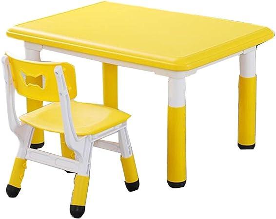 LIANGJUN Juegos De Mesa Y Sillas for Niños Jardín De Infancia Escritorio Estudiar El Plastico Jardín Dentro Muebles De Casa De Muñecas, Niños Y Niñas (Color : Yellow, Size : B): Amazon.es: