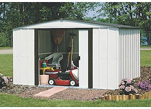 (Arrow 10' x 8' Newburgh Eggshell with Coffee Trim Low Gable Electro-Galvanized Steel Storage Shed)