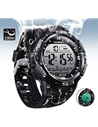 10 ATM Digital Submersible Diving Watch 100m Water Resistant Swimming Sport Wristwatch Luminous LCD Screen with