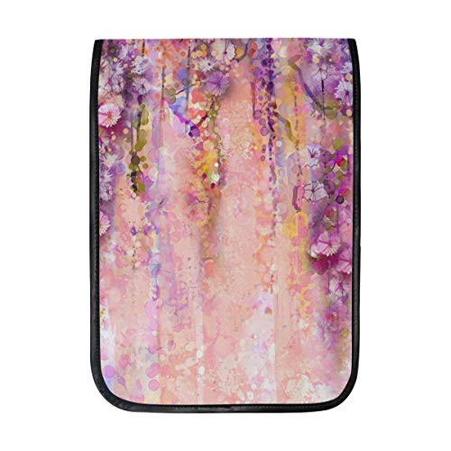 MAPOLO iPad Pro 12.9 Inch Case, Pink Violet Watercolor Flowers Painting Wisteria Tree Smart Protective Cover, Build-in Pencil Holder for Apple iPad Pro 12.9
