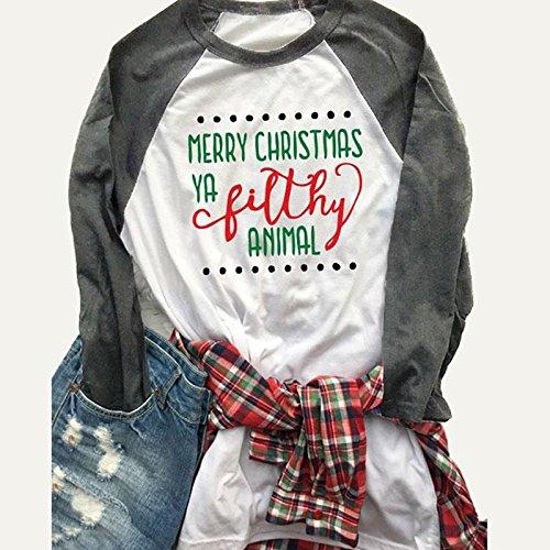 Vin beauty wlgreatsp Joyeux Noël T-Shirt Grande Taille Femmes Mode Loose Fit Lettre Imprimé Manches Longues Col RAS du Cou O Neck C