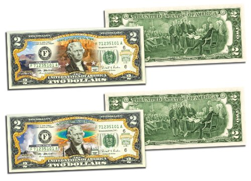 Grand Canyon Yellowstone Park - GRAND CANYON & YELLOWSTONE Official $2 Bills Honoring America's National Parks