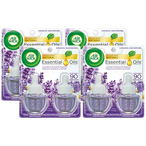 Air Wick Scented Oil 8 Refills, Lavender & Chamomile, (4X2x0.67oz), Air Freshener ()