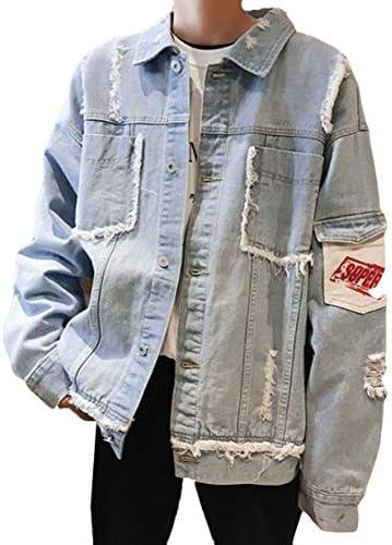 DeBangNiメンズ デニム ジャケット 大きいサイズ メンズ デニム コート ゆったり おしゃれ Gジャン アウター ダメージ加工 ストリート系 プリント 通勤 通学