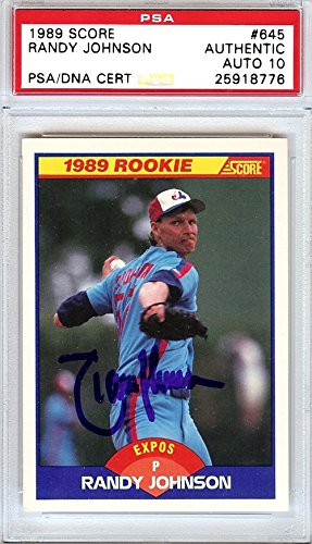Randy Johnson Autographed/Hand Signed 1989 Score Rookie Card #645 Montreal Expos Gem Mint 10 PSA/DNA