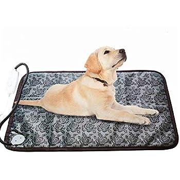 RIOGOO Pet Heating Pad Large, Dog Cat Electric Heating Pad Indoor Waterproof Adjustable Warming Mat with Chew Resistant Steel Cord (28 x17.7 in)