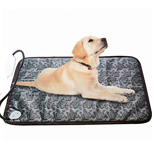 RIOGOO Pet Heating Pad Large, Dog Cat Electric Heating Pad Indoor Waterproof Adjustable Warming Mat with Chew Resistant Steel Cord (28 x17.7 in) (Dog Pad Heater House)