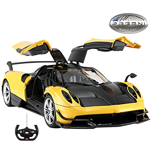 Licensed RC Car 1:14 Scale Pagani Huayra BC | Rastar Radio Remote Control 1/14 RTR Super Sport Car Model with Open Doors (Yellow) (Rtr 1 10 Electric Rc Drift Car)