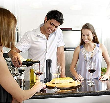 Abrebotellas eléctrico, juego de abrebotellas de vino eléctrico con línea de carga USB cortador de aluminio tapón de botella de vino vertedor de vino para el hogar fiesta como regalo para la familia