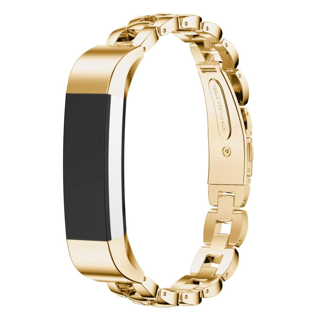 Owill Luxury Stainless Steel Wrist Strap Metal Watch Band for Fitbit Alta (135-210mm, Gold)