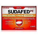 Sudafed PE Pressure + Pain + Cough Caplets, Sinus Pressure, Sore Throat, Nasal Congestion Relief, 24 Count