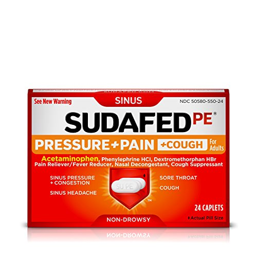 Sudafed PE Pressure + Pain + Cough Caplets, Sinus Pressure, Sore Throat, Nasal Congestion Relief, 24 Count (Nasal Decongestant Sinus Sudafed)