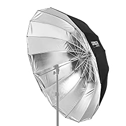 Fovitec Studiopro - 1x 65 Inch Blacksilver Deep Parabolic Fiberglass Umbrella - [Easy Assembly][wrap Around Light Shaping][compact Carrying Sleeve]