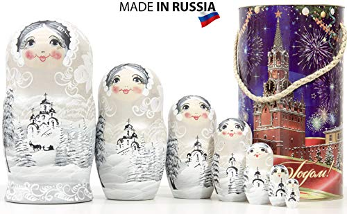 Russian Nesting Doll - Winter`s Tale - Hand Painted in Russia - Wooden Decoration Gift Doll - Traditional Matryoshka Babushka (8`` (7 Dolls in 1), Silver Day-Light)