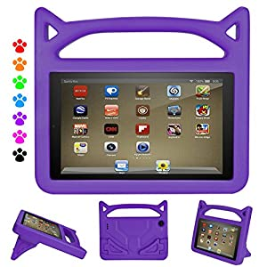 All New Fire 7 2017 Case, Fire 7 2015 Kids Case - DiHines Light Weight Shock Proof Handle Friendly Stand Kid-Proof Case for All New Amazon Fire 7 inch Display Tablet Cover(2015&2017 Release) (Purple)