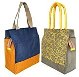Foonty pack of 2 jute lunch bags/multipurpose bags(FAB-7)