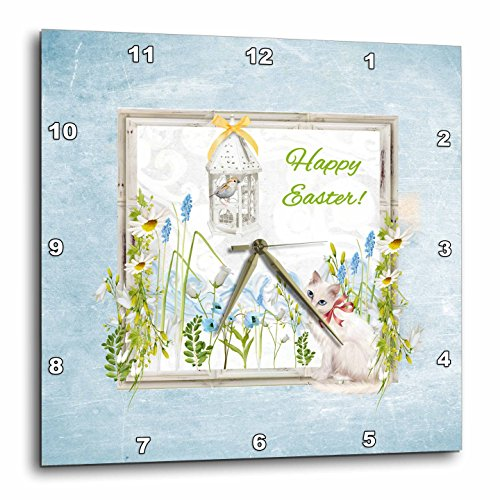 Beverly Turner Easter Design and  - White Cat in Flower Garden
