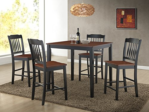 Roundhill Furniture 5 Piece Anja Two-Tone Solid Wood Dining Set, Cherry/Black