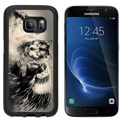 - MSD Premium Samsung Galaxy S7 Aluminum Backplate Bumper Snap Case A beautiful airbrush painting of an young indian warrior accompanied with two wolves IMAGE 36962768