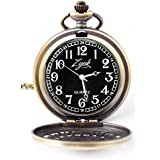 Zynkz Pocket Watch Custom Designed Black/Gold Colored Stainless Steel With Neckless