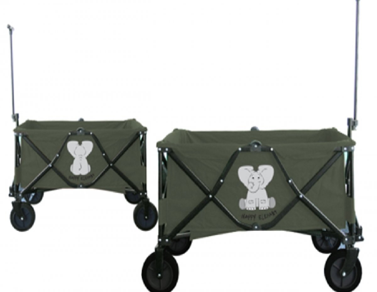 Dreams4Home Bollerwagen faltbar - Handwagen, Transportwagen, faltbar, Camping, Picknick, Outdoor, Größe: 90 x 50 x 61 cm, bis 80 kg, mit 2Bremse. Gummireifen, in grün