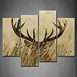 deer antler art 4 Panel Wall Art Deer Stag with Long Antler in The Bushes Painting The Picture Print On Canvas Animal Pictures for Home Decor Decoration Gift Piece (Stretched by Wooden Frame,Ready to Hang)
