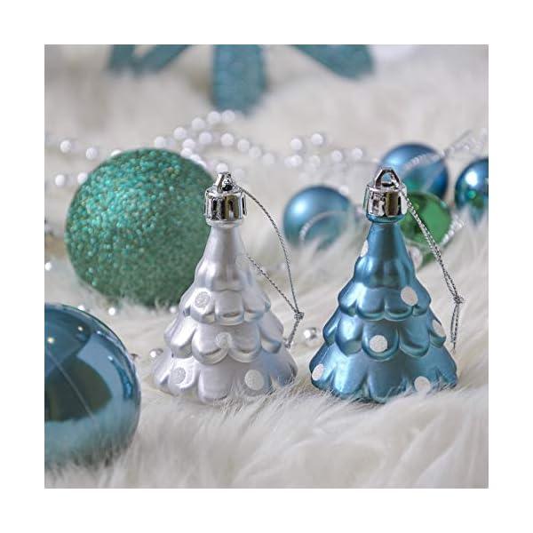 Valery Madelyn Palle di Natale 100 Pezzi di Palline di Natale, 3-5 cm Auguri Invernali Blu Verde e Nastro Infrangibile Ornamenti Palla di Natale Decorazione per Albero di Natale 6 spesavip