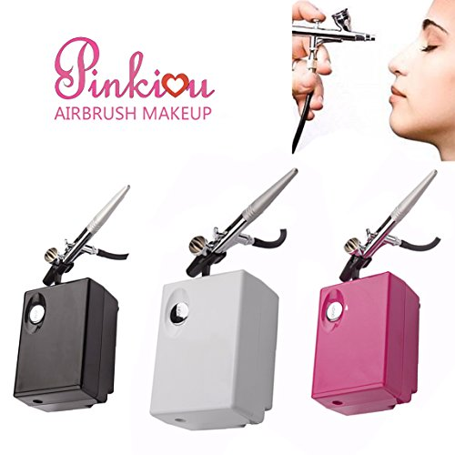 Pinkiou Mini Airbrush Makeup Set with Compressor 0.4mm Needle Temporary Tattoo Art Face Body Paint Aerograph AirBrush Nail kit (White)