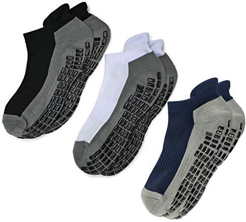 Deluxe Super Grips Anti Slip Non Skid Yoga Hospital Socks for Adults Men Women … (Medium, 3-Pairs/Black+White+Navy)