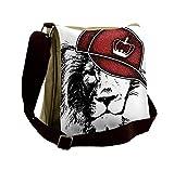Lunarable Black and White Messenger Bag, Hipster Lion Hat, Unisex Cross-body